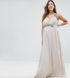 Mamalicious Premium Embellished Maxi Dress - Grey