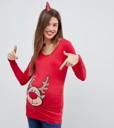 Mamalicious Reindeer Christmas Top - Red