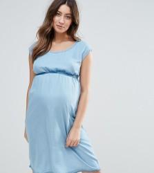 Mamalicious Short Sleeve Denim Dress - Blue
