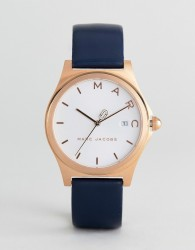 Marc Jacobs MJ1609 Henry Leather Watch In Navy 36mm - Navy