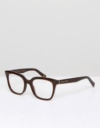 Marc Jacobs Square Clear Lens Glasses In Black - Black