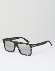 Marc Jacobs Tinted Lens Square Frame Sunglasses with Splatter Finish - Black