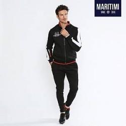 Maritimi Joggingsæt med kontrastfarvede striber