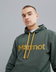 Marmot Hoodie With Chest Logo in Green - Green