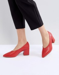 Matt & Nat Sibyl V Cut Block Heeled Point Shoe - Red