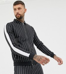 Mauvais muscle jacket in stripe with side stripe - Black