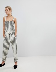 Max&Co Striped Button Front Jumpsuit - Multi