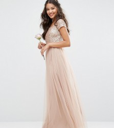 Maya Bardot Maxi Dress With Delicate Sequin And Tulle Skirt - Brown