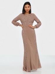 Maya Blossom Embellished Long Sleeve Maxi Dress Pailletkjoler