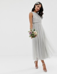 Maya Bridesmaid sleeveless midaxi tulle dress with tonal delicate sequin overlay in soft grey - Grey