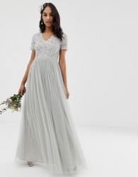 Maya Bridesmaid v neck maxi tulle dress with tonal delicate sequins in soft grey - Grey
