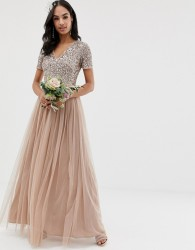 Maya Bridesmaid v neck maxi tulle dress with tonal delicate sequins in taupe blush - Brown