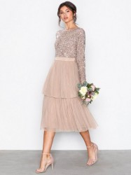 Maya Delicate Sequin Tiered Midi Dress Pailletkjoler Taupe