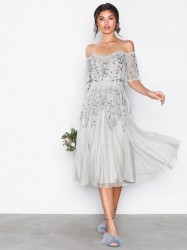 Maya Embellished Bardot Midi Dress Pailletkjoler Grey