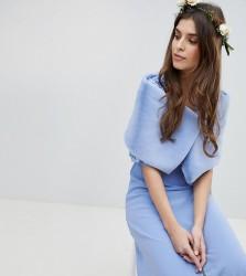 Maya Faux Fur Cape - Blue