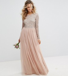 Maya Long Sleeved Maxi Dress with Delicate Sequin and Tulle Skirt - Brown