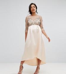 Maya Maternity Embellished Bodice Midi Dress With Satin Hi Low Hem - Pink