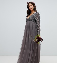 Maya Maternity long sleeve wrap front maxi dress with delicate sequin and tulle skirt in charcoal - Grey