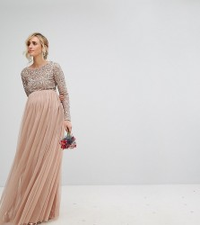 Maya Maternity Long Sleeved Maxi Dress with Delicate Sequin and Tulle Skirt - Brown
