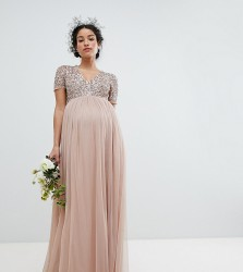 Maya Maternity v neck maxi tulle dress with tonal delicate sequins - Brown