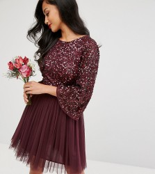 Maya Petite Bell Sleeve Mini Dress In Tonal Delicate Sequin With Tulle Skirt And Kimono Sleeve - Red