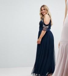 Maya Plus Cold Shoulder Sequin Detail Tulle Maxi Dress With Ruffle Detail - Navy