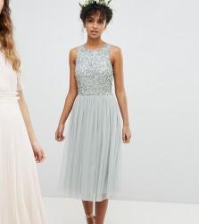 Maya Sleeveless Sequin Bodice Tulle Detail Midi Bridesmaid Dress With Cutout Back - Green