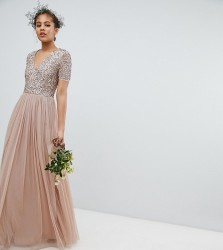 Maya Tall Bridesmaid v neck maxi tulle dress with tonal delicate sequins - Brown