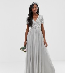 Maya Tall Bridesmaid v neck maxi tulle dress with tonal delicate sequins in soft grey - Grey