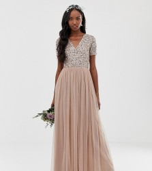 Maya Tall Bridesmaid v neck maxi tulle dress with tonal delicate sequins in taupe blush - Brown