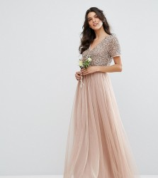 Maya V Neck Maxi Tulle Dress with Tonal Delicate Sequins - Pink