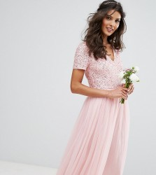 Maya V Neck Midi Dress Dress with Delicate Sequin and Tulle Skirt - Pink