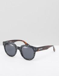 McQ by Alexander McQueen Round Printed Sunglasses - Black