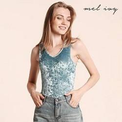 Mel Ivy Bodystocking i fløjl med V-udskæring