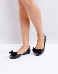 Melissa Velvet Bow Flat Shoe - Black