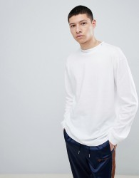 Mennace Oversized Long Sleeve T-Shirt In White - White