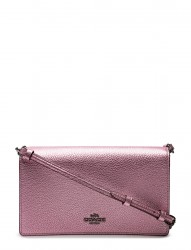 Metallic Foldover Crossbody Clutch