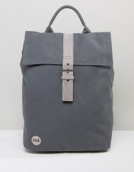 Mi-Pac Canvas Fold Top Backpack in Charcoal - Grey