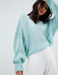 Micha Lounge V-Neck Open Knit Slouch Jumper - Blue