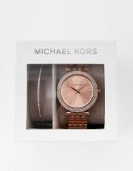Michael Kors Darci rose gold watch and bracelet gift set MK3715 - Gold
