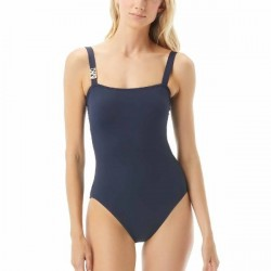 Michael Kors Logo Solids Underwire Swimsuit - Navy-2 * Kampagne *