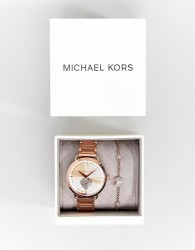 Michael Kors MK3827 Portia Bracelet Watch & Bracelet Gift Set In Rose Gold - Gold