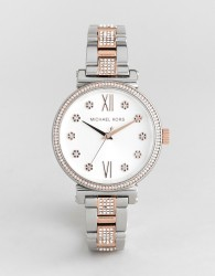 Michael Kors MK3880 Sofie Mixed Metal Floral Watch - Silver