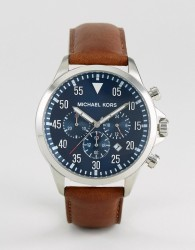Michael Kors MK8362 Gage chronograph brown leather strap watch - Brown
