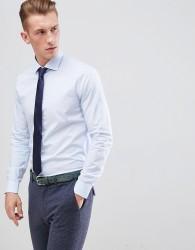 michael kors slim fit smart shirt in light blue stretch - Blue