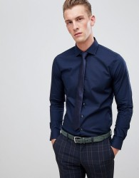 michael kors slim fit smart shirt in navy stretch - Navy