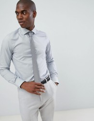 Michael Kors slim fit smart shirt in silver mini houndstooth print - Silver