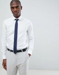 Michael Kors slim fit smart shirt in white herringbone - White