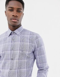 Michael Kors slim fit stretch shirt in grey prince of wales check - Blue