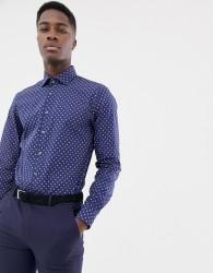 Michael Kors slim fit stretch shirt in navy print - Blue